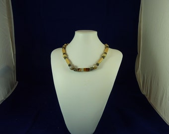 Carved Bone Bead necklace - Unisex Agate and bone necklace