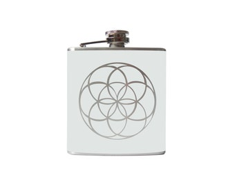 Seed of Life FLASK- alcohol, liquor, booze, wedding, bridal party, hip pocket- whiskey, flower mandala Personalized Custom - YOU pick COLOR