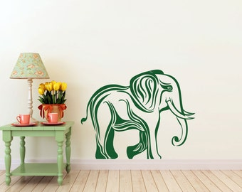 Elephant tribal vinyl Wall DECAL- Hindi Jungle Africa India interior design, sticker art, room, home and business decor