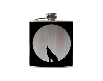 Howling Wolf and Moon FLASK- alcohol, liquor, booze, wedding, bridal party, hip- whiskey, Personalized Custom - YOU pick COLOR