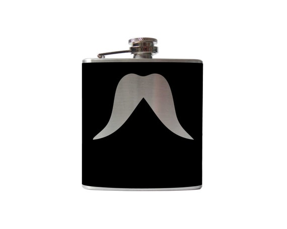 Mustache 03 Flask- alcohol, liquor, booze, wedding, bridal party, hip pocket- Personalized Custom - YOU pick COLOR