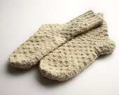 RESERVED - Unbleached White Hand Knitted Woolen Socks - 100% Natural Organic Socks