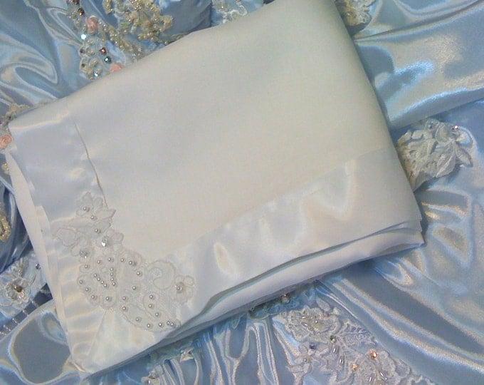 Newborn Coming Home White Christening Heirloom Baby Blanket White Satin and White Satin Batise