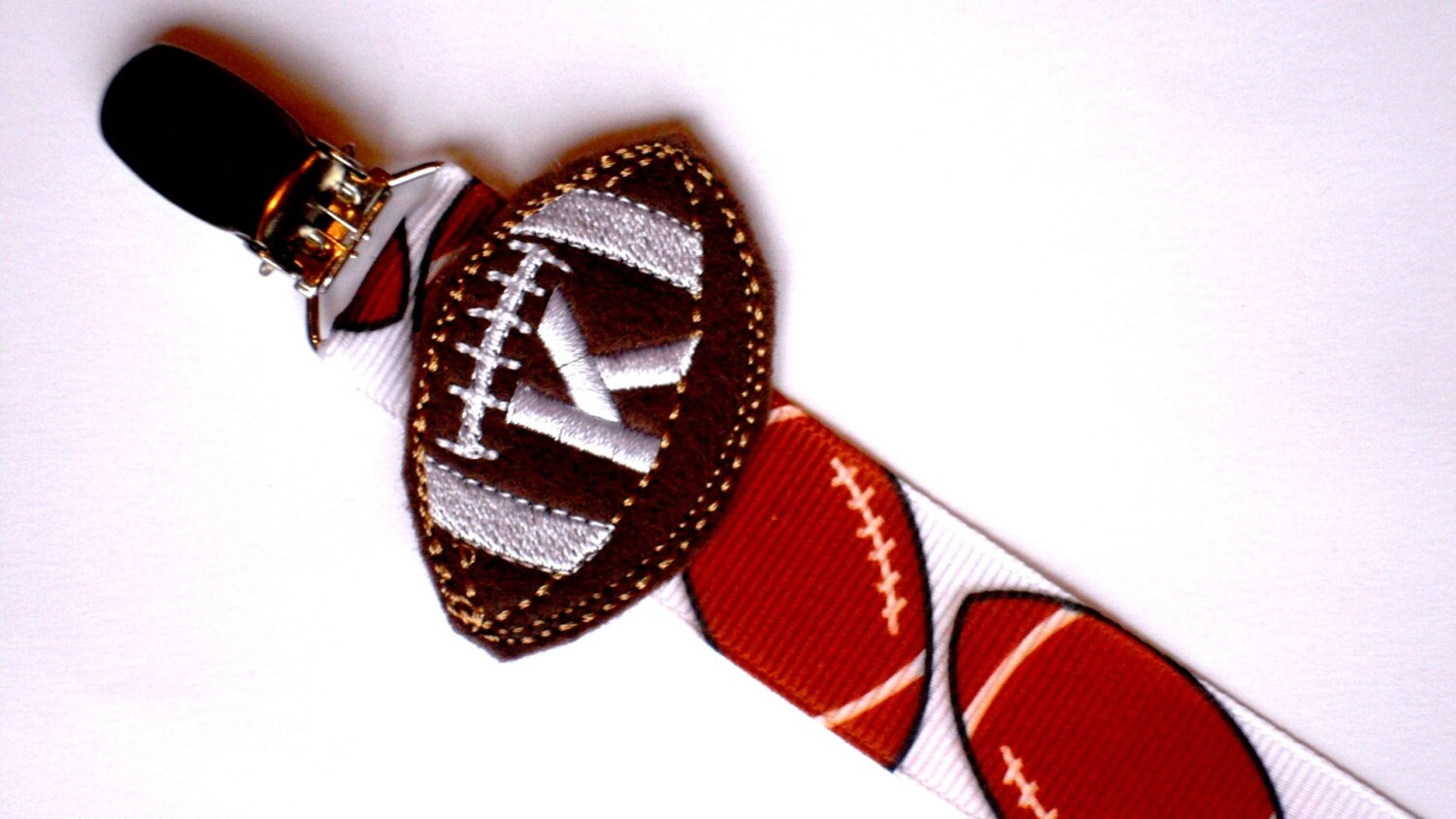 monogram football pacifier clip for baby boy    paci clip for