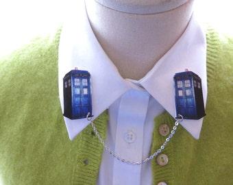 Doctor Who Tardis Geekery Brooch Double Collar Pin