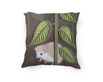Decorative Throw Pillow, Hand Drawn hedgehog in the garden, cute pillow, hedgehog pillow, brown and green, Velveteen Pillow Cover Only