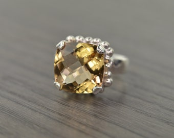 Darcy Ring, size 7.25, Champagne Quartz cushion prong 6ct solitaire