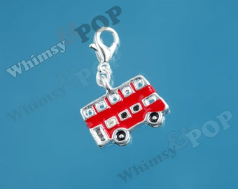 1 - Silver-Plated London Double-Decker Red Bus Double-Sided Enamel Charm, Red Bus Charm, 17mm x 14mm (6-6G)