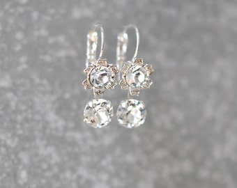 Diamond Earrings Swarovski Crystal Clear Diamond Floral Rhinestone Drop Tennis Leverback Earrings Mashugana