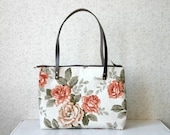 Canvas Zipper Tote bag Diaper bag Everyday purse Floral Waterproof Roses canvas Leather straps Coral