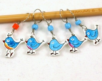 bluebird of happiness stitch markers, whimsical set of 5, no snag