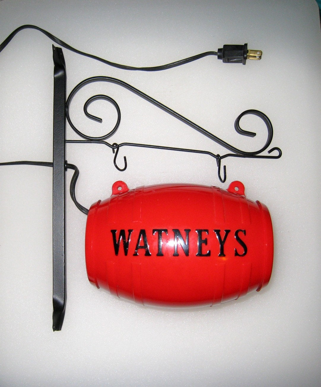 Vintage WATNEYS Red Barrel Beer Hanging Lighted Sign With