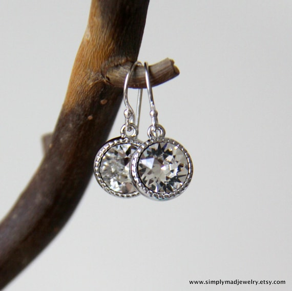 Faux Diamond Swarovski Crystal Earrings, Sterling Silver, Bridesmaid Jewelry, April Birthstone (6344)
