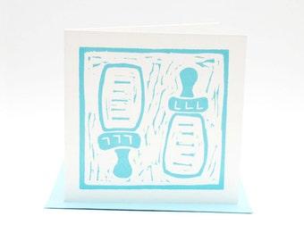 Letterpress card, geboortekaartje, baby card boy, linosnede, hand-printed linocut, nursery print