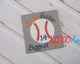 Sister Baseball-Little Sister Biggest Fan- Applique Baseball bodysuit- Baseball Sister Shirt- Baby Girl bodysuit-