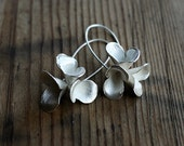Floral Pods Triplet Dangle Earrings, cast silver dangle earrings