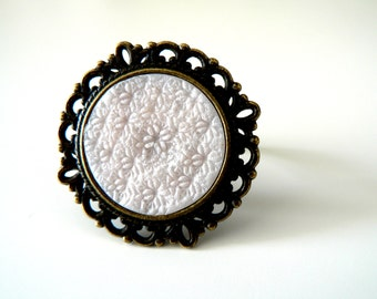 Cocktail Ring, White big statment ring, Adjustable Ring