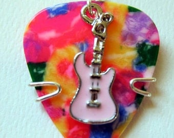 Tie dyed guitar pick with pink guitar charm - Guitar Pick Keychain