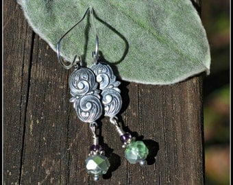 Green Glass Earrings with Silver Floral Charm art nouveau inspired earrings