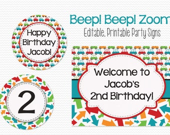 Transportation Party Decoration, Car Baby Shower Decor, Welcome Sign, Birthday Party Signs, Party Supplies -- Editable, Printable, Instant