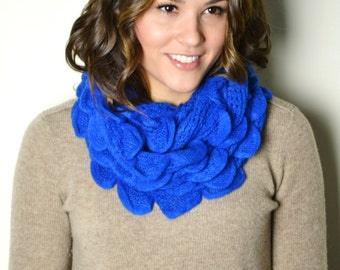 SUPER SALE 18.00 Electric Blue Soft Petals & Ruffles Chunky Knitted Infinity Loop Circle Scarf Snood Cowl Women's Knit Scarfs Gift idea