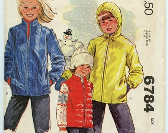 1970s Vintage Sewing Pattern McCall's 6784 Children's Jacket and Vest Pattern Breast 27