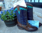 Hand painted leather cowgirl boots