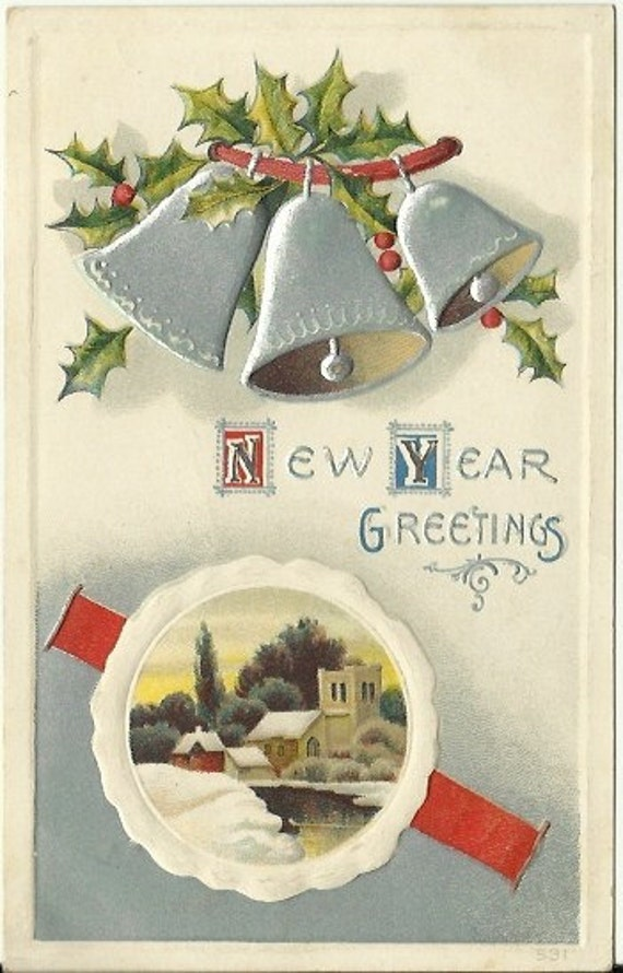 "Antique Postcard ""New Year Greetings"" Holly with Silver Bells Winter Church Scene next to river Embossed 1913"