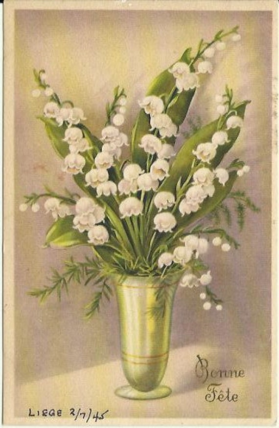 "Vintage French Postcard ""Bonne Fete"" Translates ""Happy Birthday"" Lily of the Valley Sender Writes Easter Greetings Belgium 1945"