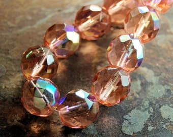 Czech Glass Beads, 12mm Fire Polished in AB Apricot -8