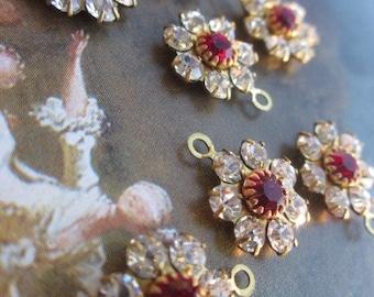 Vintage Swarovski Siam And Crystal Flower Finding With Hoop