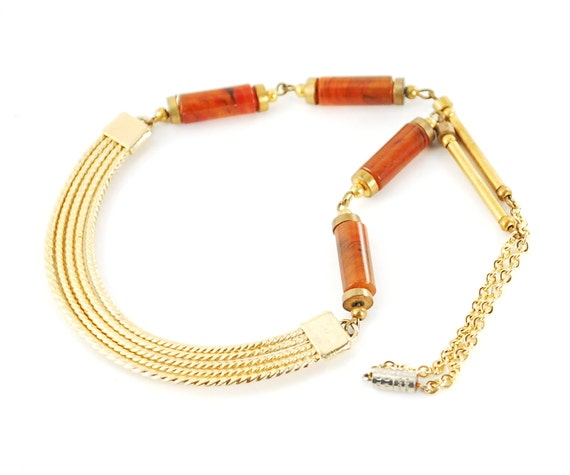 Antique Art Deco Gold Collar Necklace (Egyptian Revival, Gold Crescent Moon, Faux Tortoise-Shell Beads, 1930s Great Gatsby Costume Jewelry)