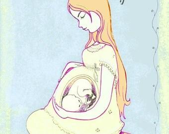 Baby shower art, new baby, pregnancy, motherhood, sacred life, birthdays,art cards, unborn child, embryo, woodblock, prints, soft colors