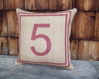 Burlap Number Pillow with Double Border - Decorative Burlap Pillow - Other Colors Available - Custom Accent Pillow - Industrial Pillow