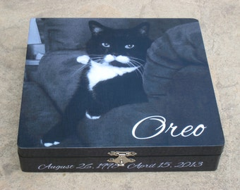 Pet Memorial Keepsake Box, Personalized Photo Keepsake Box, Unique Dog Memorial, Pet Urn, Custom Cat Memorial, Pet Memory Box, In Memory Of