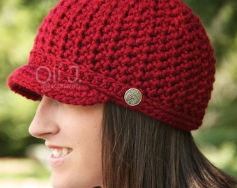 Women's Brimmed Beanie - Autumn Red - Made to Order