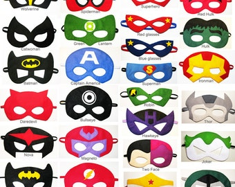 16 felt Superhero Masks party pack for kids - YOU CHOOSE STYLES - Dress Up play costume accessory - Birthday gift for Boys Girls - Wholesale