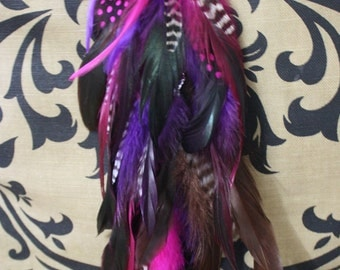"""Handmade Extra Long Chain Feather Extension Hair Clip 14"""" long-EXTRA FULL-Purple"""