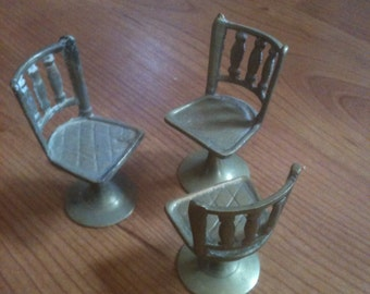 Vintage Brass Miniature Dollhouse Chairs