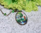 Mermaid Jewelry - Unicorn Jewelry - Mermaid Unicorn Cameo Necklace Glass Cabochon Cameo