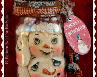 Primitive Snowman Pattern, snowmen, cloth doll pattern, holiday, Christmas, Canned snowmen, Digital download pattern, Winter pattern,