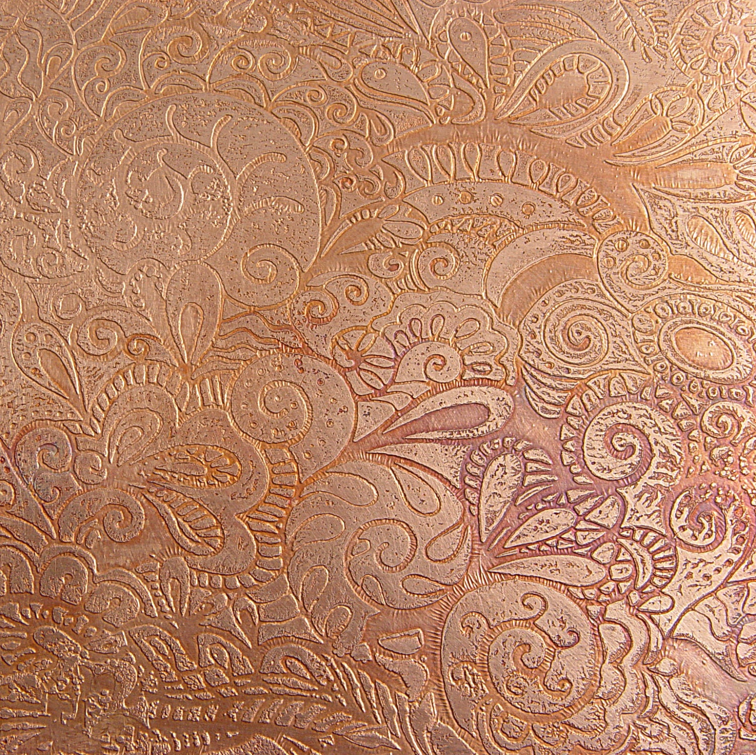 Etched Copper Sheet Paisley Mehndi Texture 4x6 Inches 24g