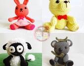 AMIGURUMI PATTERN : SET of Koala, Vanilla Teddy, Sugar Bunny and Woolie the lamb