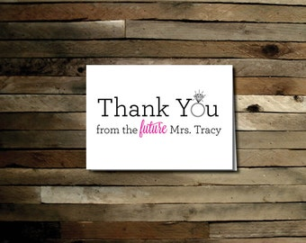 Future Mrs Thank You Card - Printable File. Notecard. Thank You. Bridal Shower Thank You Cards.