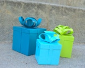 Peacock Blue Aqua and Lime Christmas Presents Candle Holder Set
