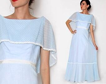Vintage 70s Light Blue Maxi Dress with attached shawl / Prarie Dress / Hippie Boho Dress