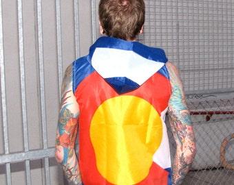Colorado Flag Hoodie Windbreaker- sports clothing american flag clothing- mens clothing- vest shirt- mens jacket - upcycled clothing - flag