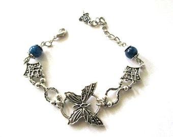 Butterfly bracelet blue agate jewelry antiqued silver butterfly jewelry romantic vintage style bracelet