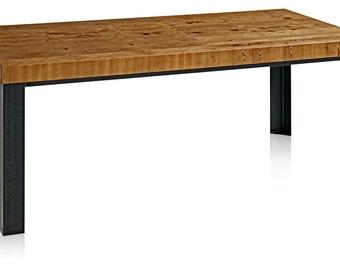 Reclaimed Hemlock Wood Table with Metal Base