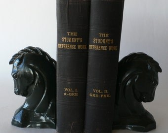 Antique books, The Student's Reference Work, 1907, Volume l and ll, free shipping from Diz Has Neat Stuff